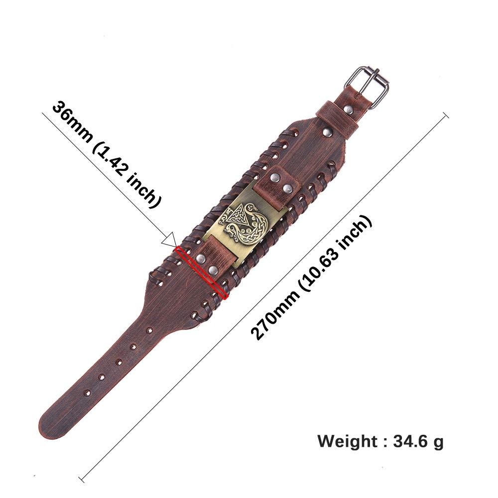 fishhook Viking Pirate Ship Dragon Celtic Knot Pattern Bangle Leather Bracelet