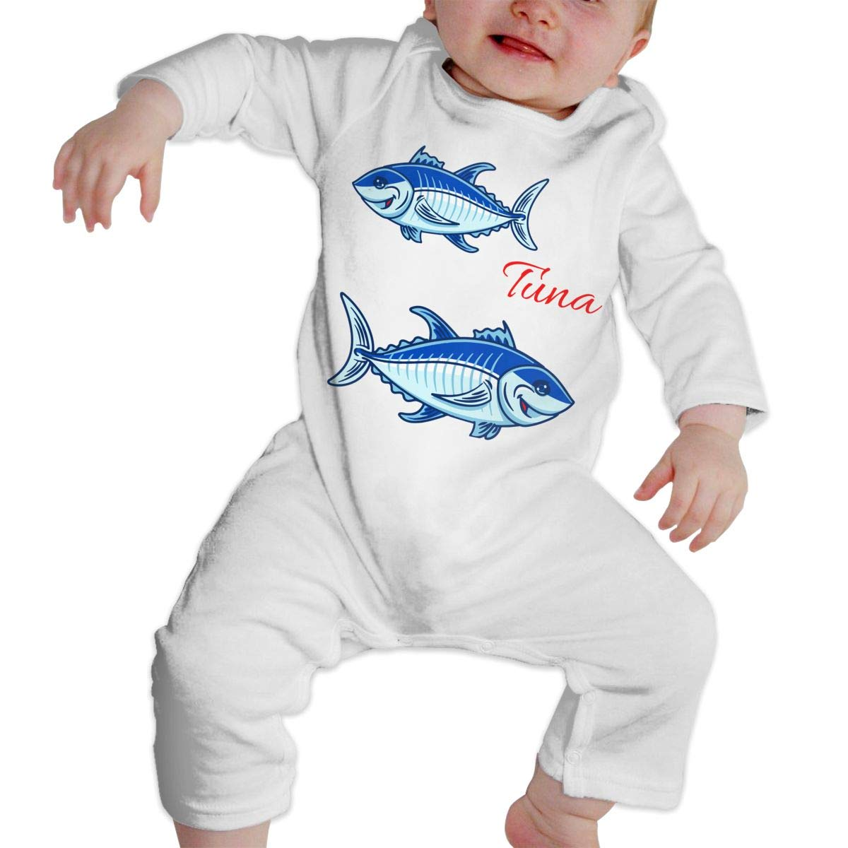 A1BY-5US Newborn Baby Boys Girls Cotton Long Sleeve Tuna Fish Climb Jumpsuit One-Piece Romper Clothes