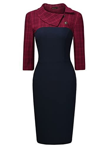 MissMay Women's Elegant Small Lapel 3/4 Sleeve Workwear Pencil Dress