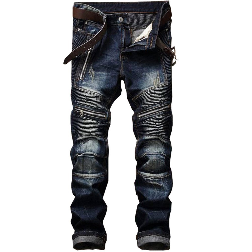 Shunht Men's Ripped Straight Fit Moto Biker Jeans with Zipper Deco