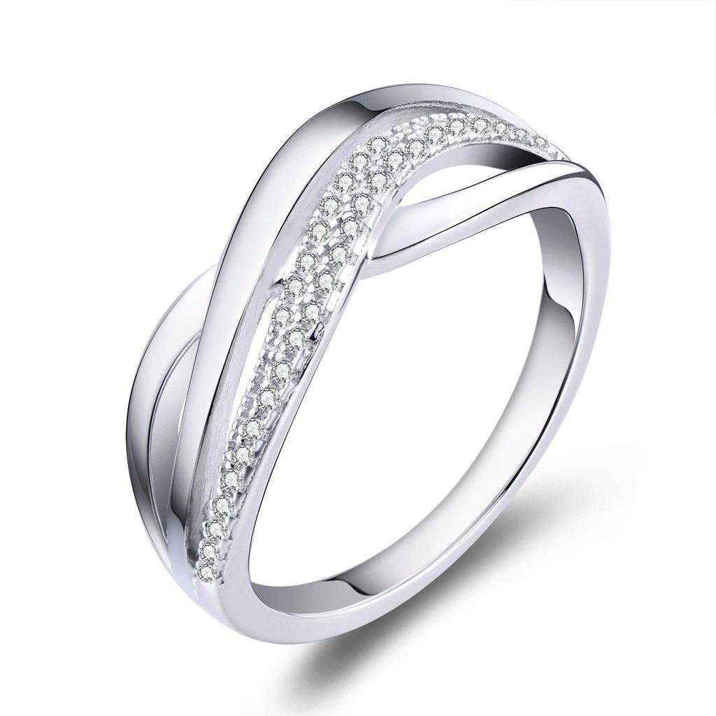 YL Anello da donna in argento sterling 925 con anello in oro bianco placcato in oro zirconi YL Fine Jewelry DL08410A1
