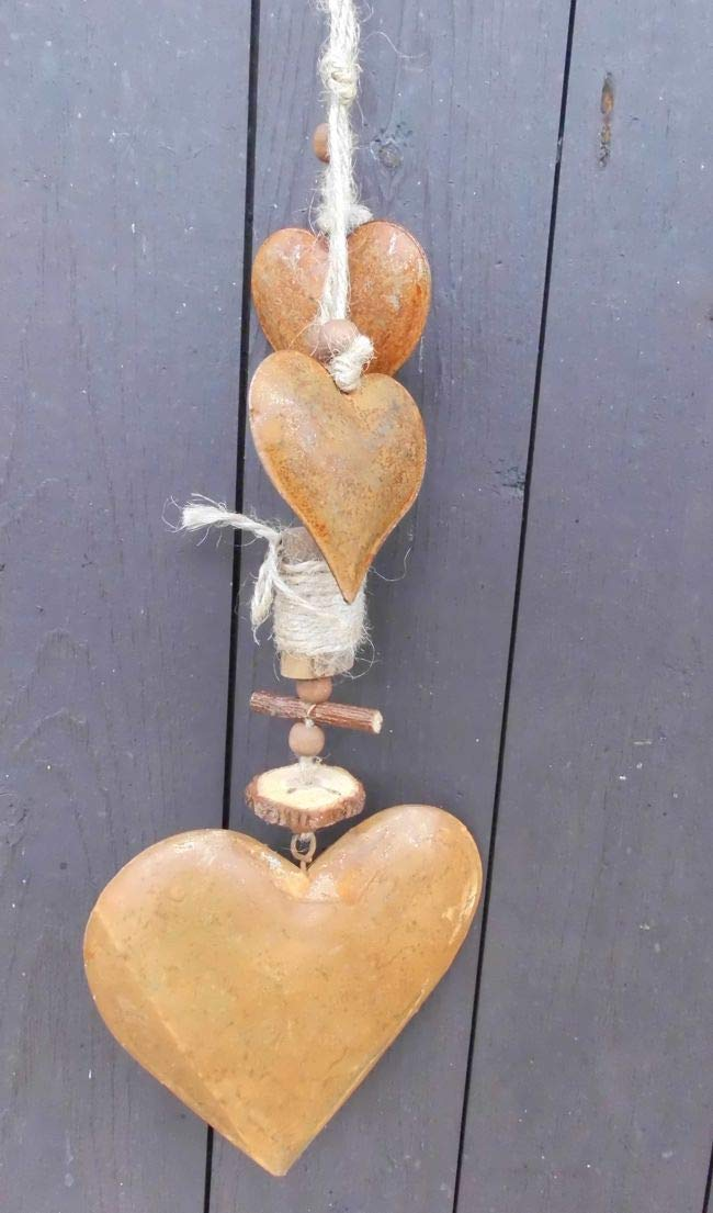 Herzen Eisen u Holz Rost feng-shui 49 cm Wunderschöne Girlande m