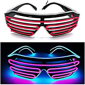 Fixinus LED Light Up Eye Glasses With Voice Control El Wire Glowing Shutter Glasses For Christmas Party Rave