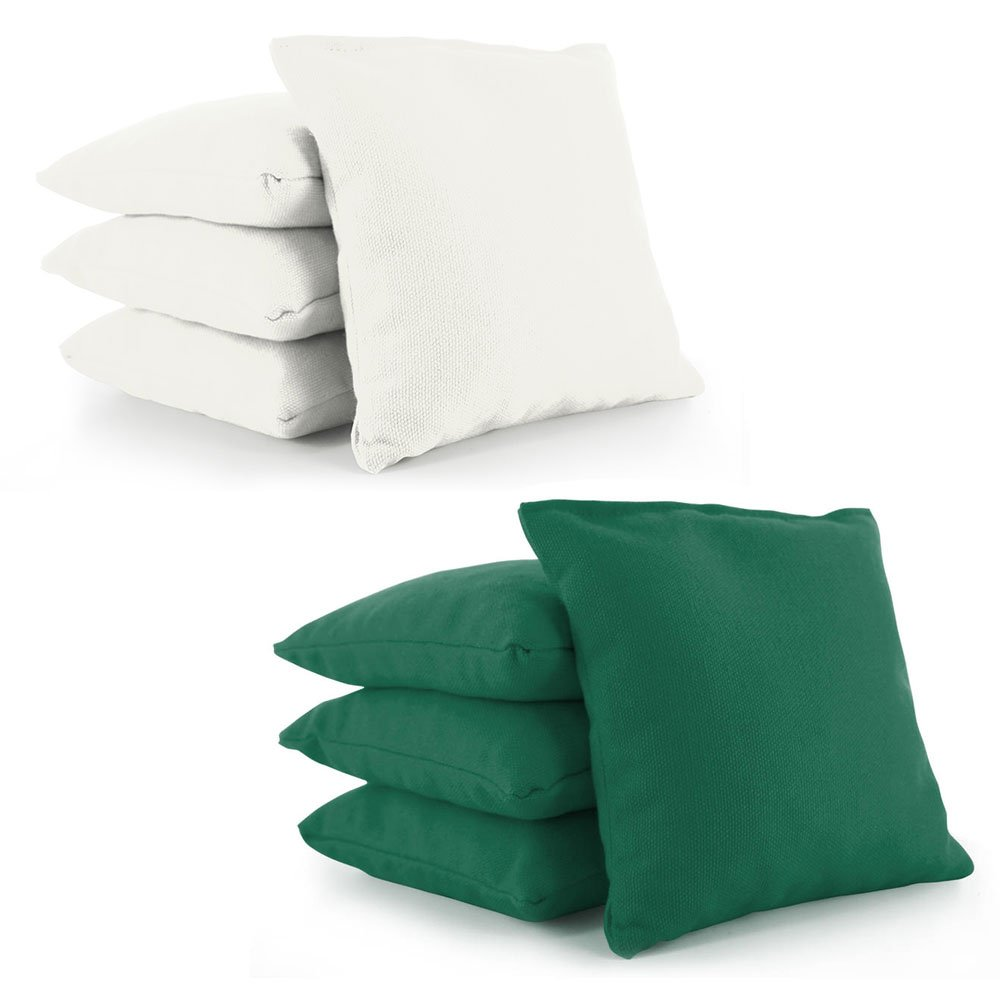 Weather Resistant Cornhole Bean Bags Set of 8 by Tailor Spot Resin Filled Regulation Size (White-Green) by Tailor Spot