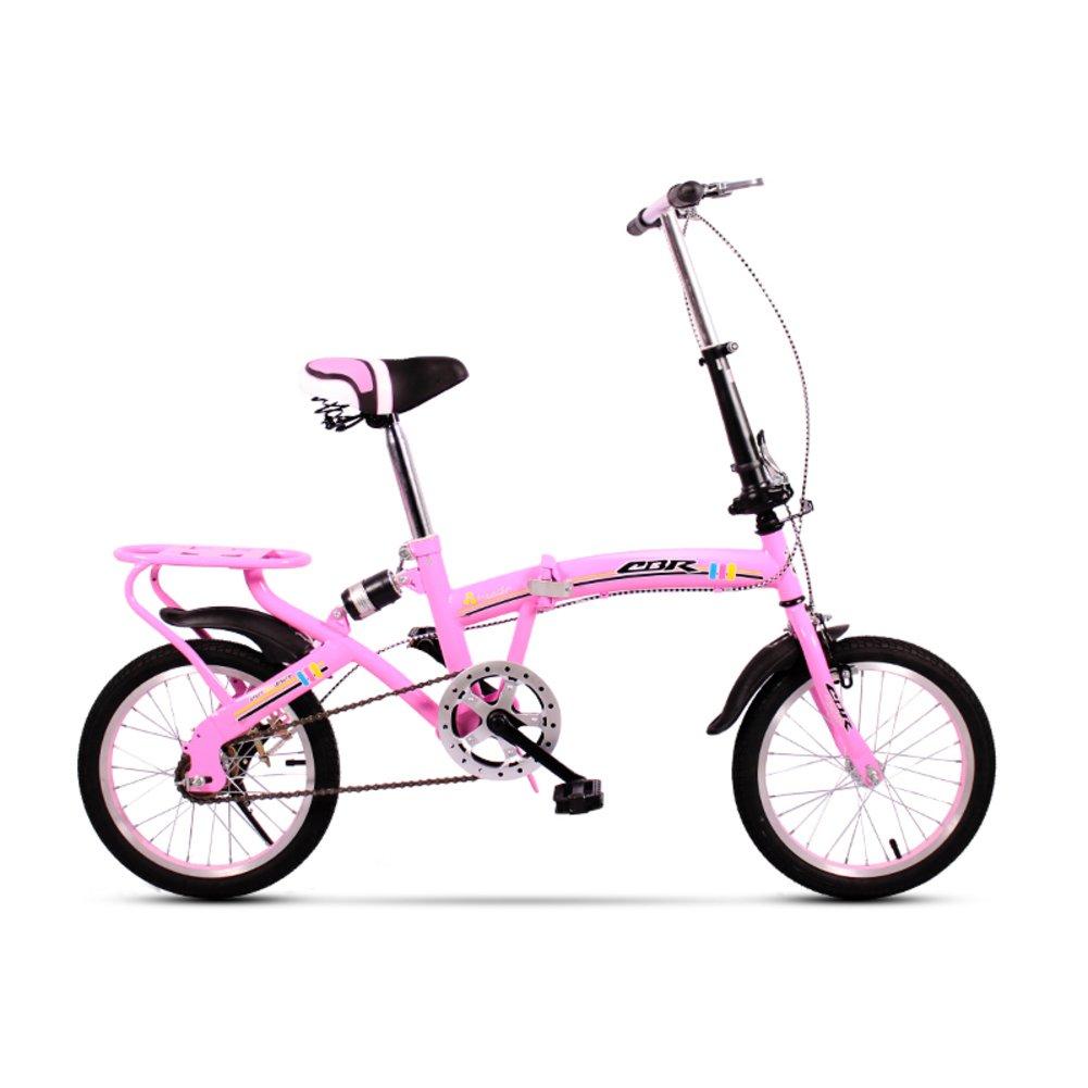学生折りたたみ自転車, 折りたたみ自転車 レジャー 型ディスク ブレーキ 子 旅行 折り畳み自転車 B07DFK4PM7ピンクA 16inch