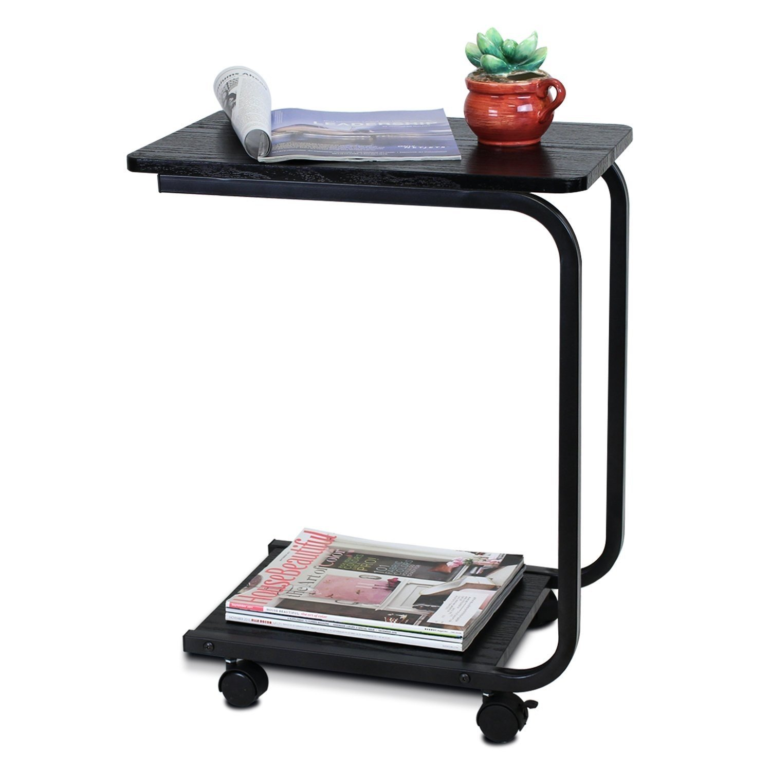 Indoor Multi-function Accent table Study Computer Desk Bedroom Living Room Modern Style End Table Sofa Side Table Coffee Table Black Desktop