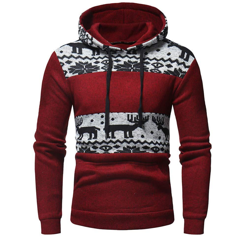 JSPOYOU Christmas Mens Winter Sweatshirt Mens' Print Hoodie Hooded Xmas Tops Jacket Coat Outwear