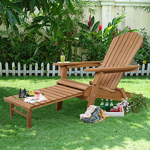 New Outdoor Foldable Wood Adirondack Chair Patio Deck Garden w/ Pull-out ottoman (Aluminum Gliding Loveseat)