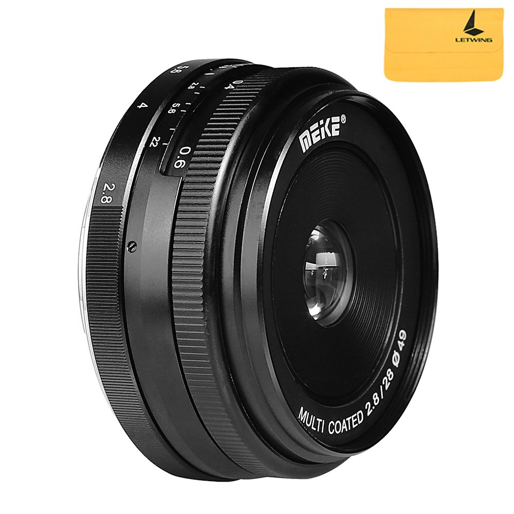 Meike MK-28mm F2.8 Large Aperture Manual Focus Lens for Canon-EF-M EOS M1/M2/M3 by Meike