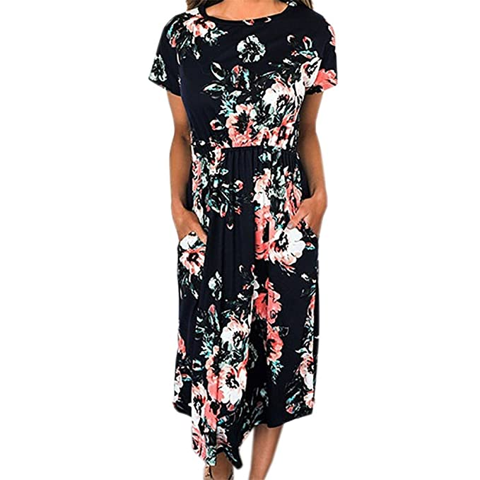 DRESS Floral Print Vintage Long Women Short Sleeve O-Neck Beach Summer Dresses Casual Loose