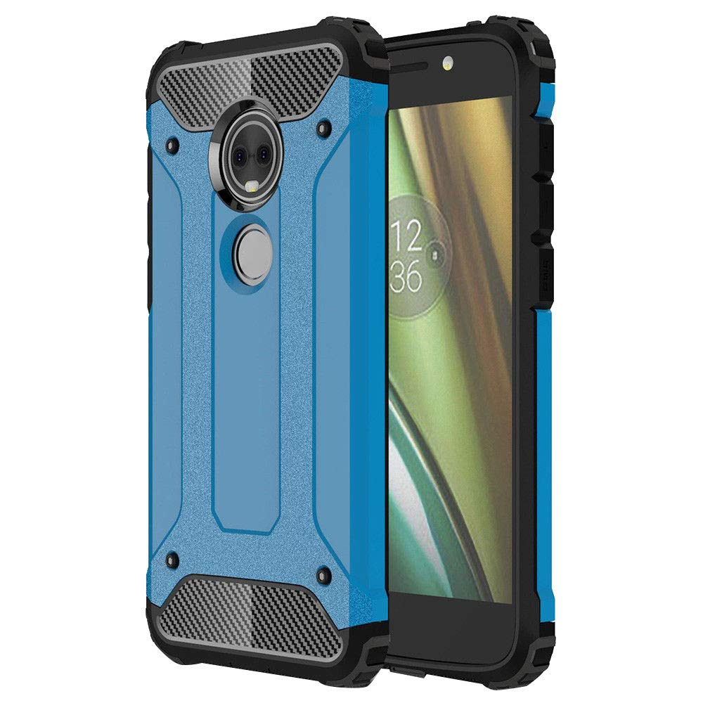 Full Coverage for Motorola Moto E5 Play / E5 Cruise Case - Rugged Armor Shock-Absorbing/Shockproof / Anti-Scratch/and Anti-Fingerprints Phone Cover (Blue)