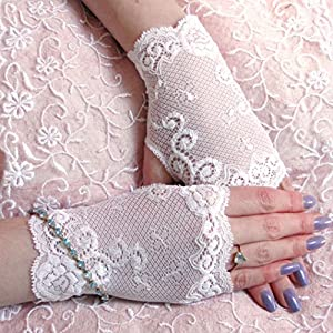 Swirl White Lace Gloves for Women Plus size Bride Prom Handmade 14