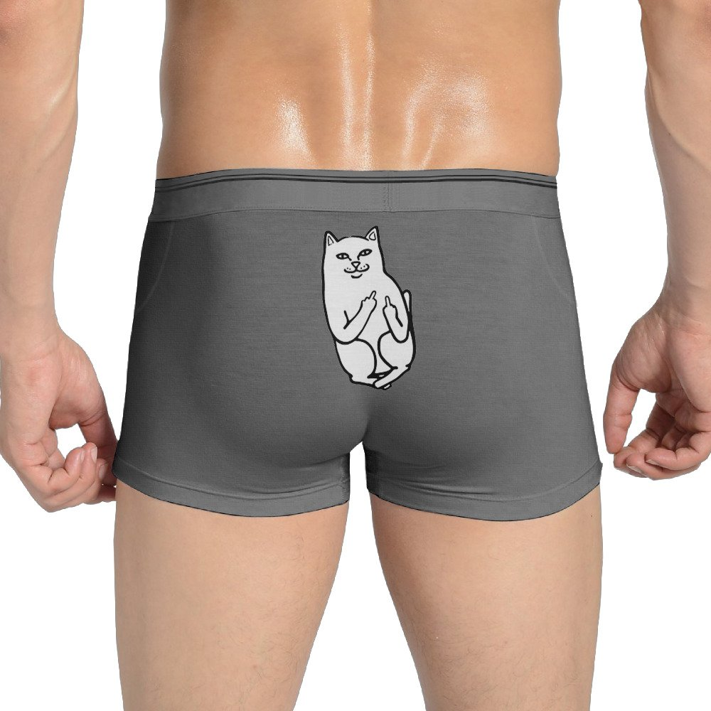 ROWWEN Middle Finger Cat Men's Underwear Breathable Boxer Brief