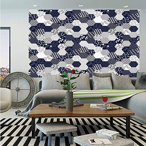 (SoSung Navy Blue Decor Huge Photo Wall Mural,Octagon Patchwork Style Pattern Image with Dots Stars Squares Stripes,Self-Adhesive Large Wallpaper for Home Decor 100x144 inches,Navy and)