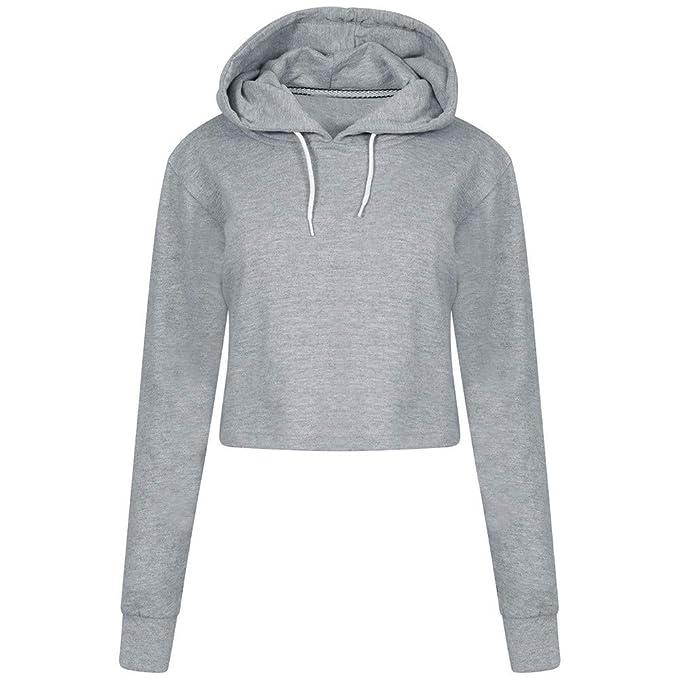 Sweatshirts Hoodies Damen Oversize Locker Oberteil Hemd Solid Pullover  Sport Freizeit Bauchfrei Stickerei Kleidung Einfarbig Cropped  Kapuzenpullover ... d1f6734f67