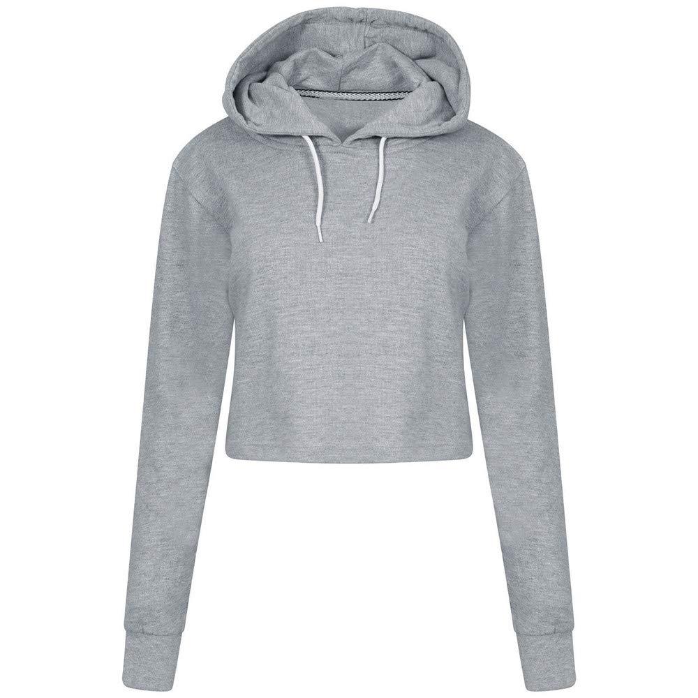 Teen Girls Hoodie Pullover Crop Tops Women Long Sleeve Shirts Solid Color Sweatshirts Casual Blouse Jumper
