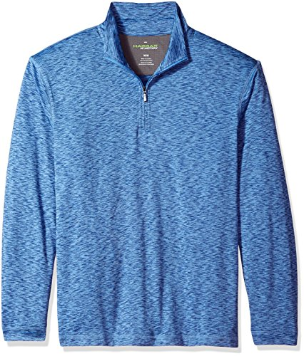 Haggar Men's Long Sleeve Athleisure Space Dye Quarter Zip, Ink Blue, S (Blue Ink Multi)