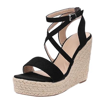 cce464b436d42 Amazon.com: Women Espadrilles Sandals Open Toe Wedge Platform ...
