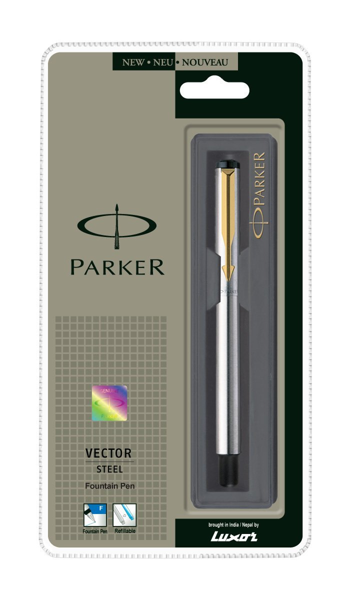 New Free Shipping GT Fountain Ink Pen Trim Fine Gold Nib Parker Vector Steel