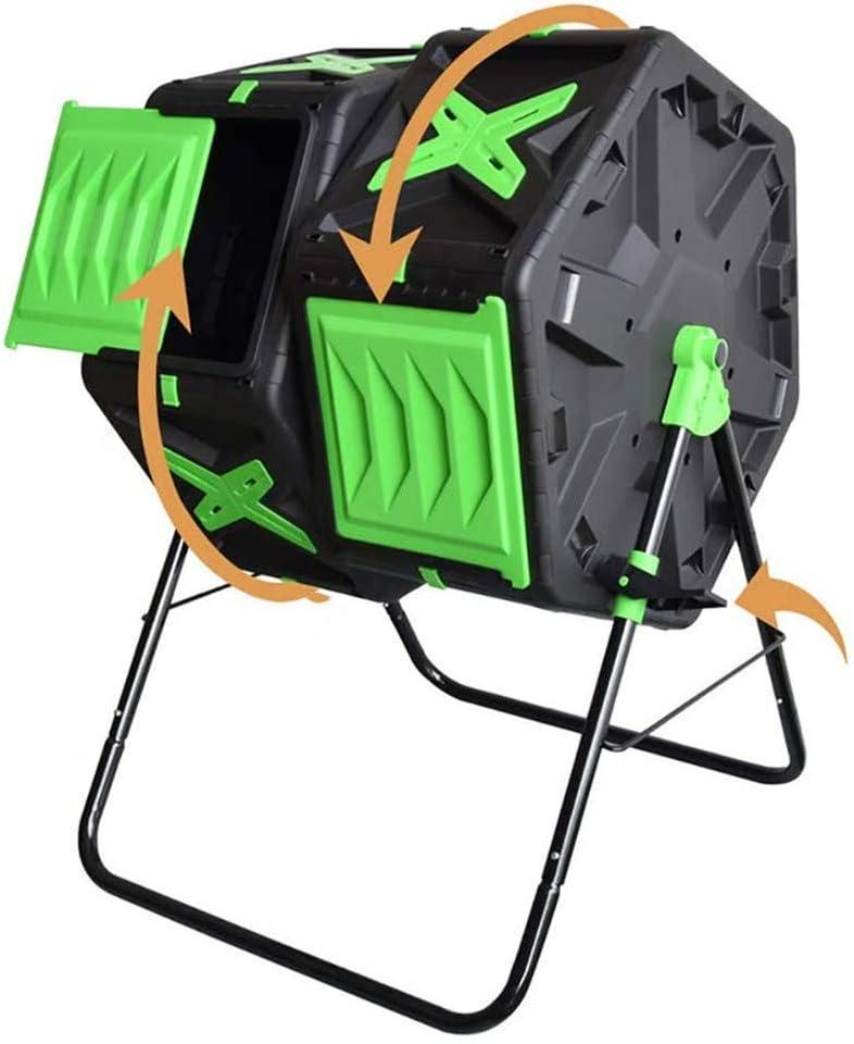 ZHANGYY Cubo de abono Grande, Cubos de Basura giratorios para jardín al Aire Libre, Compartimento Doble, Mejor Compost eficiente de circulación de Aire, Marco de Acero Resistente - 37 Galo