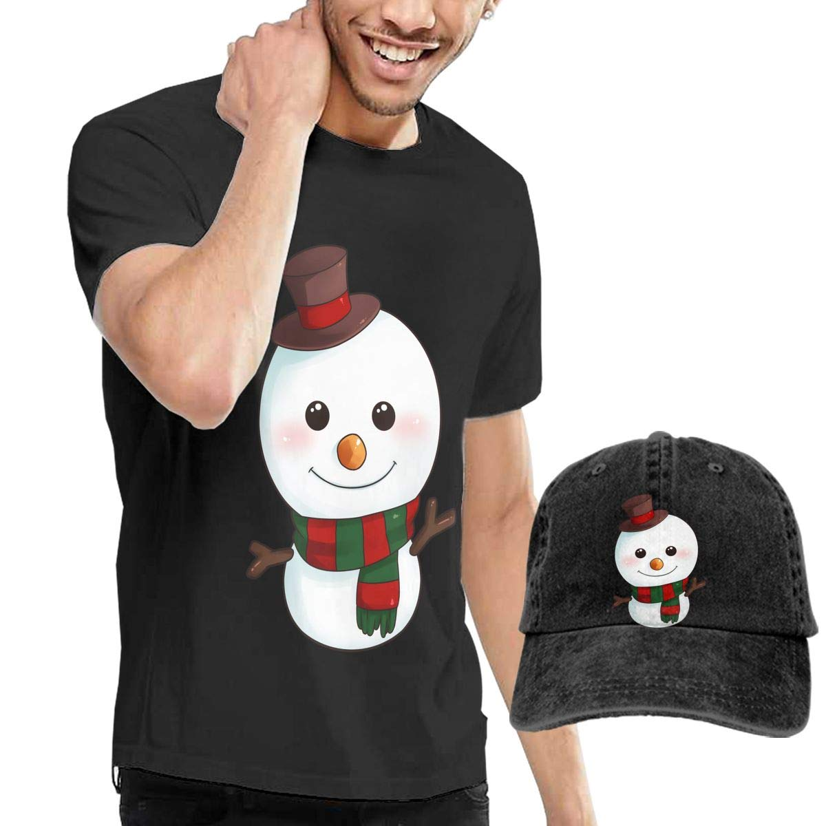 QqZXD Cartoon Snowman Smile Fashion Mens T-Shirt Hats Youth /& Adult T-Shirts