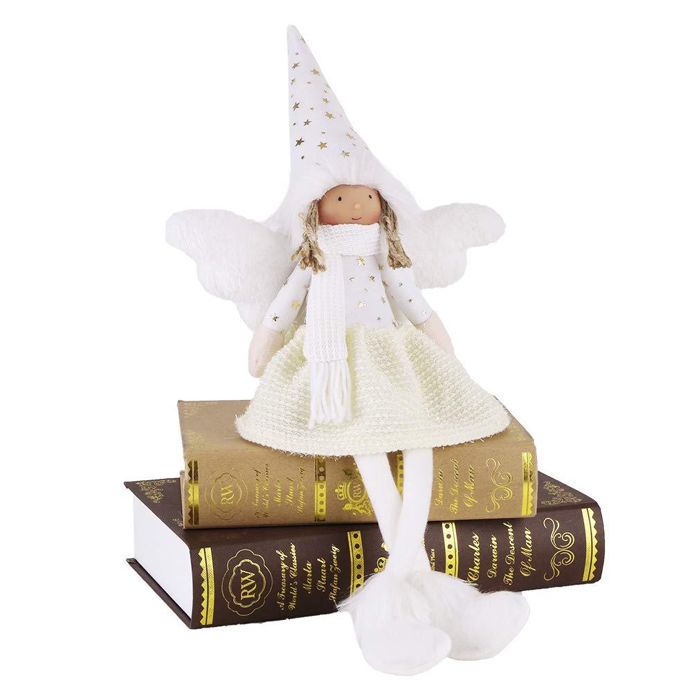 Valery Madelyn Addobbo natalizio invernale bambina bambina seduta a bordo sgabello Deco figura in tessuto con cappello invernale Sciarpa e ali in oro Beige bianco ca.22cm Deco figura Figurine per l'Avvento natalizio
