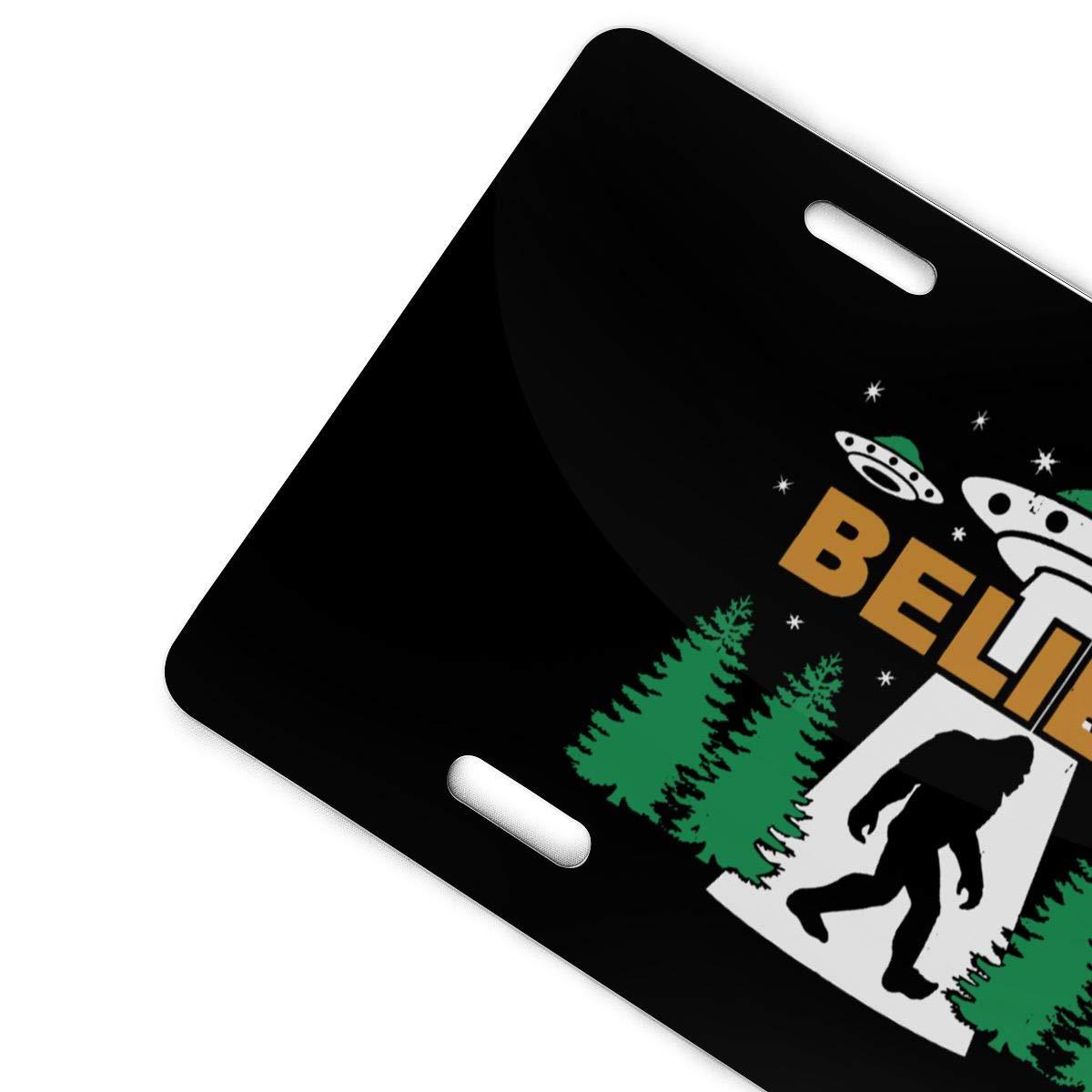 Bigfoot UFO Aliens Believe Sasquatch Novelty License Plate Decorative Front Plate 6 X 12 Inch