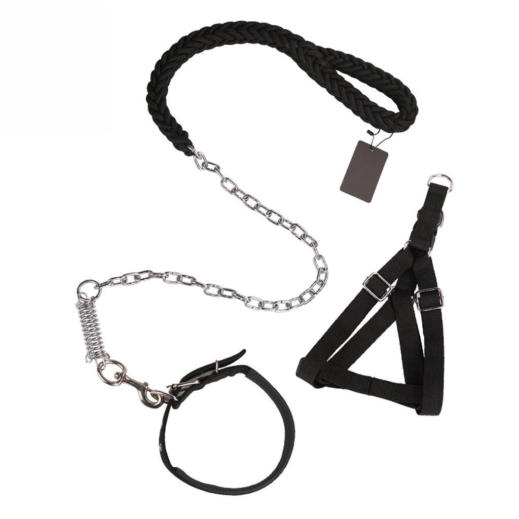 Black ZH Pet Harness, Collar, Chest Strap, Suit, BiteProof, Medium, Large Dog, Leash, Dog Leash, Oversized (color   Green)