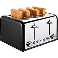 4 Slice Toaster, CUSIBOX Extra Wide Slots Stainless Steel Four Slice Toaster, BAGEL/DEFROST/CANCEL Function, 1650W, Black