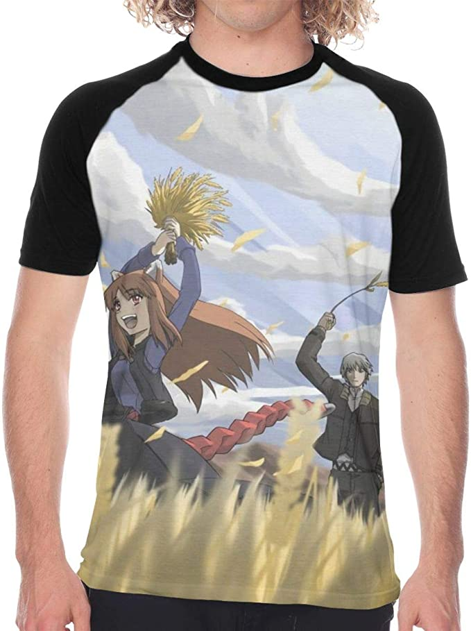 Wolf and Spice Anime Men Two Side Print Polyester Short Sleeve Shirt