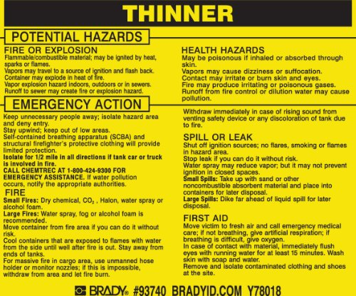 Brady 93740,  Hazardous Material Label:Dot 5800.4-1987, 3 3/4