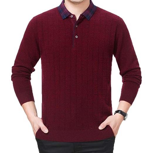 PFSYR Suéter Tipo Jersey de Manga Larga para Hombre, Polo para ...