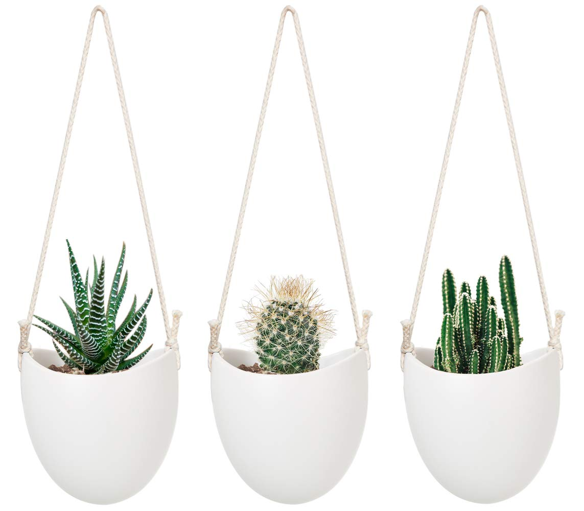 Mkono Ceramic Hanging Planter Modern Wall Flower