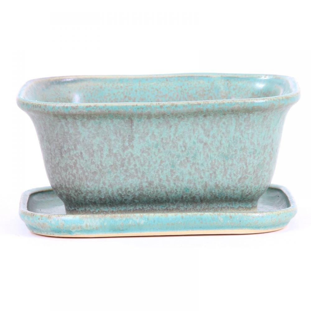 Bonsai Untersetzer m Schale eckig 15 x 13,5 x 7 cm grün  16064