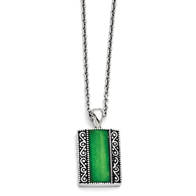 1d86618bf4f92 Amazon.com: Stainless Steel Synthetic Jade Antiqued Rectangular ...