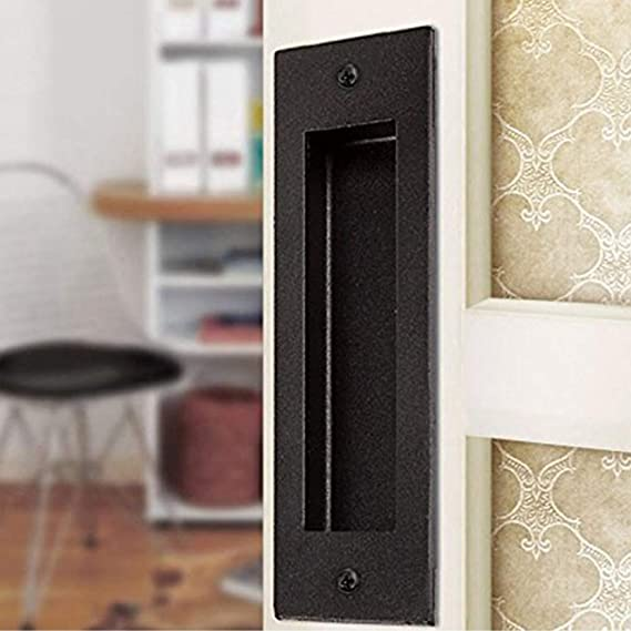 Flush Door Pull Handle for Sliding Barn//Closet Door Shackcom Recessed Pocket Door Handles 4 Pack 4.5inch Rectangular Satin Brushed Plated Black Oil