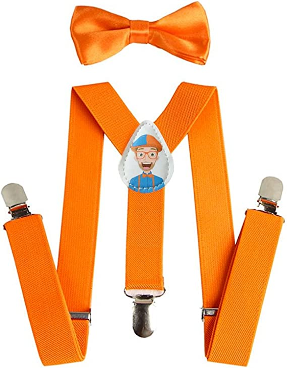 Blippi Official Kids Orange Suspenders and Clip-on Bow Tie for Children USA