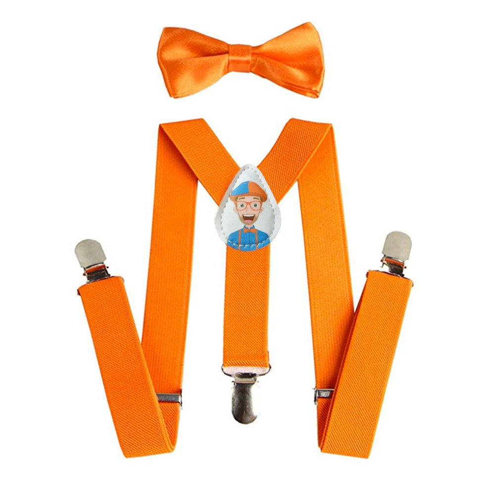 Blippi Kids Orange Suspenders and Bow Tie for Children - Adjustable and Clip On by BLIPPI LLC