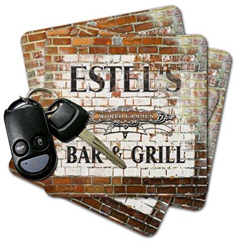 ESTEL'S Bar & Grill Brick Wall Coasters - Set of 4