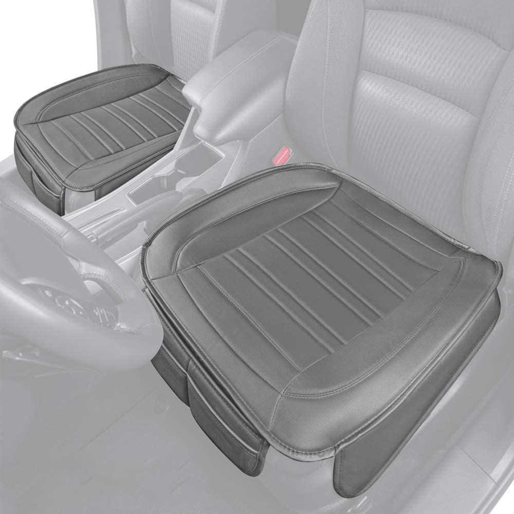 Motor Trend Gray Universal Car Seat Cushions, Front Seat 2-Pack – Padded Luxury Cover with Non-Slip Bottom & Storage Pockets, Faux Leather Cushion Cover for Car Truck Van and SUV