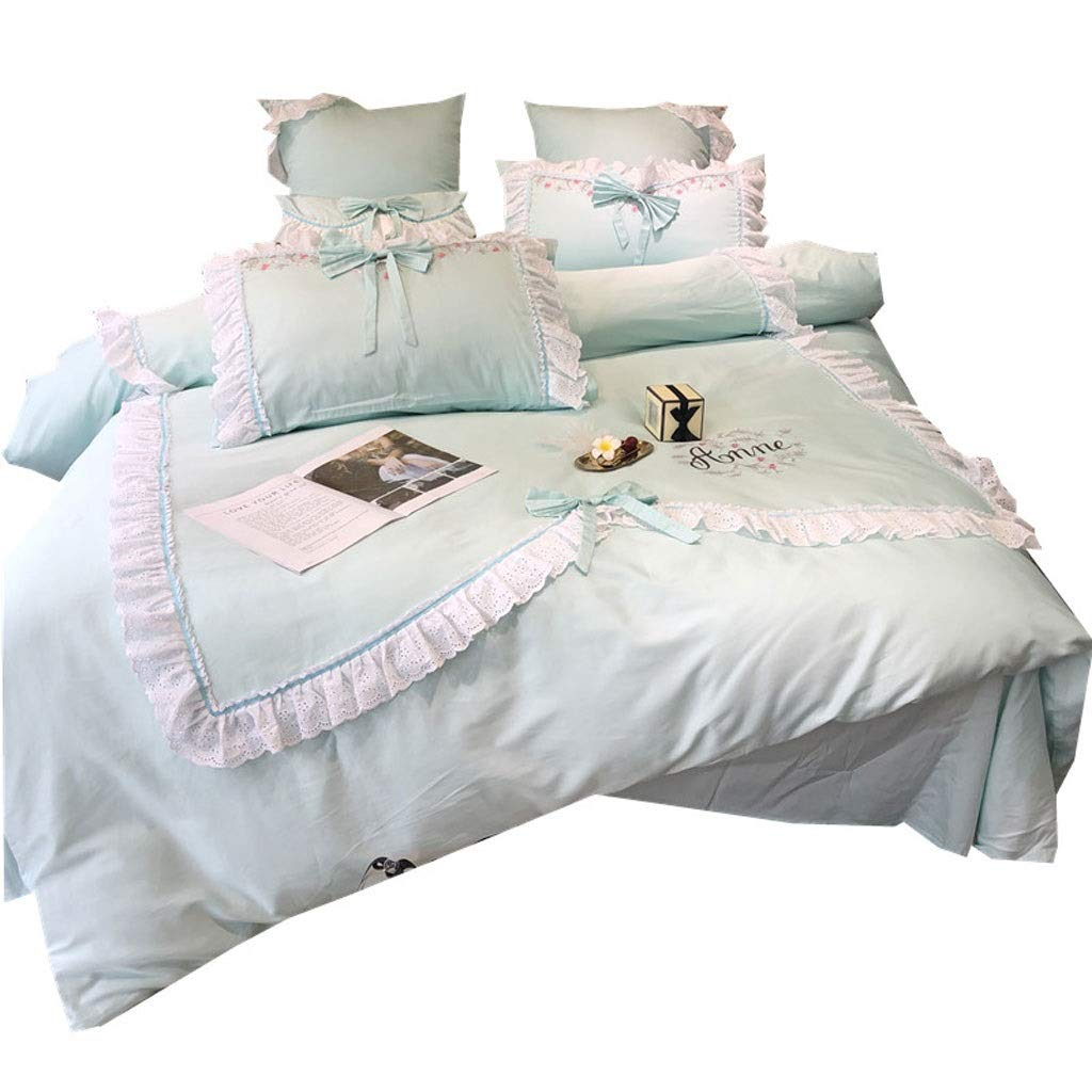 Gf Girls Heart Pink Love Bedding Cotton Embroidery Four-Piece Set 60 Long-Staple Cotton Sheets Quilt Covered Cotton (Color : Blue, Size : 1.5m Bed)