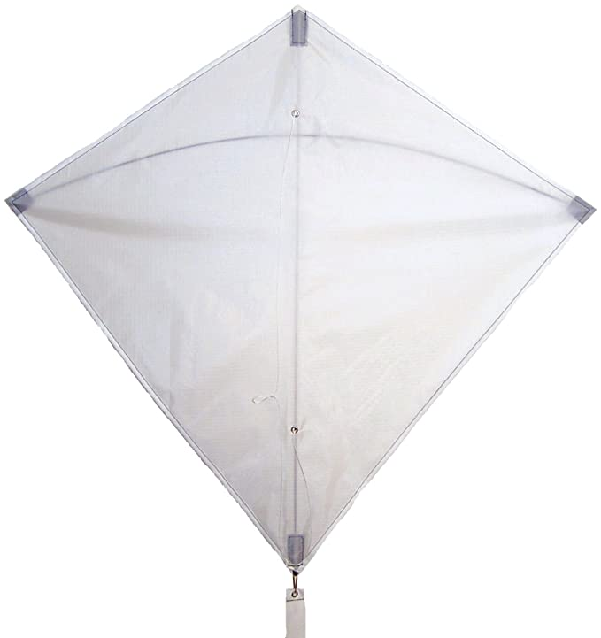 In the Breeze White 30 Inch Diamond Kite - Single Line - Ripstop Fabric - Includes Kite Line and Bag - Great Entry Level Kite