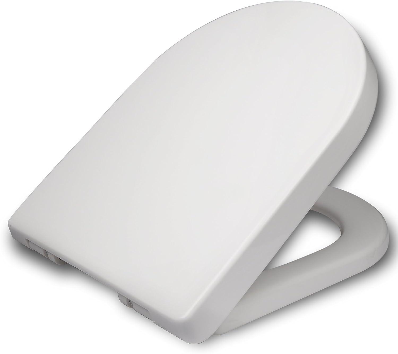 WOLTU WC Tapa y Asiento para Inodoro, Asiento de Inodoro de Plástico con Cierre Suave Lento, bisagras Ajustables Fácil Instalación Blanco WS2543
