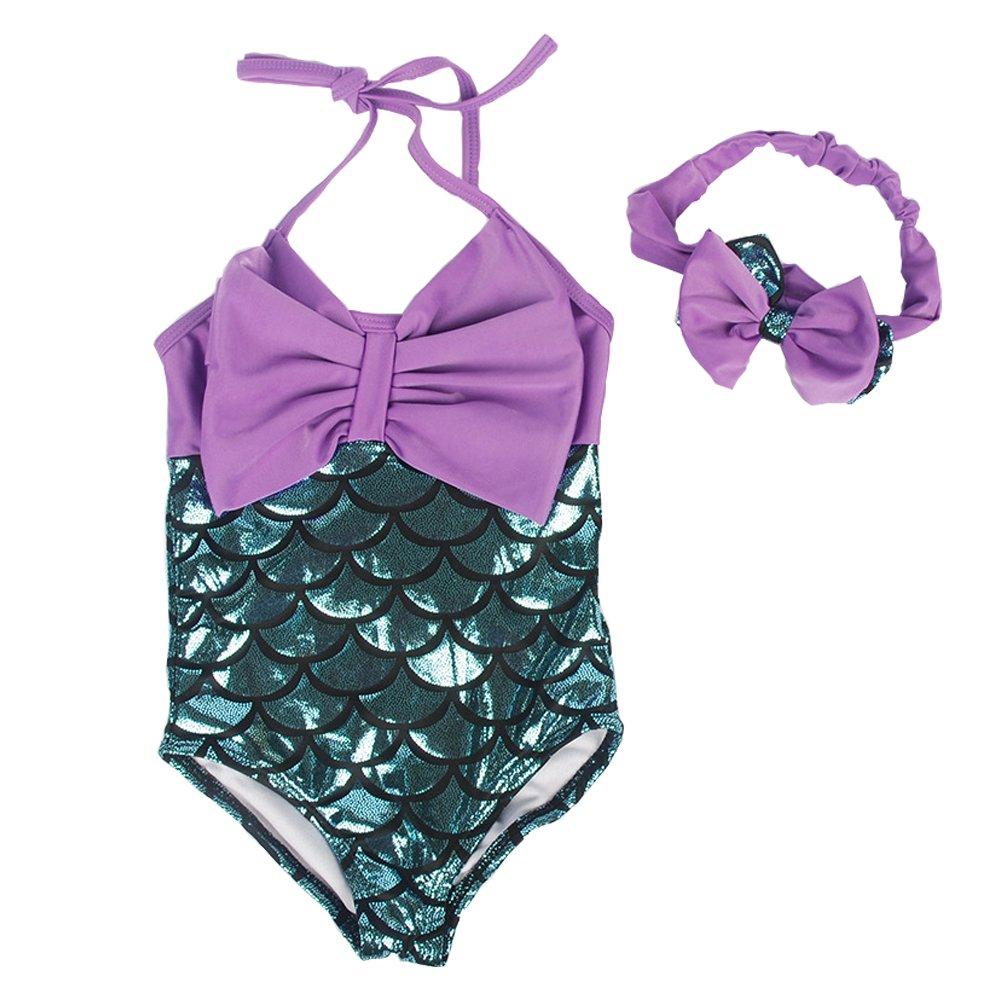 d3220a5e2f33a Moomintroll Little Girls Swimmable Mermaid Princess Bikini Swim Bathing Suit +headband