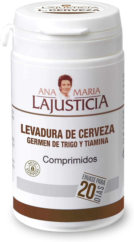 Ana Maria Lajusticia - Levadura de cereveza con germen de trigo y tiamina– 80 comprimidos contribuye a mantener un cabello sano, unas uñas fuertes y una piel tersa. Envase para 20 días de tratamiento.