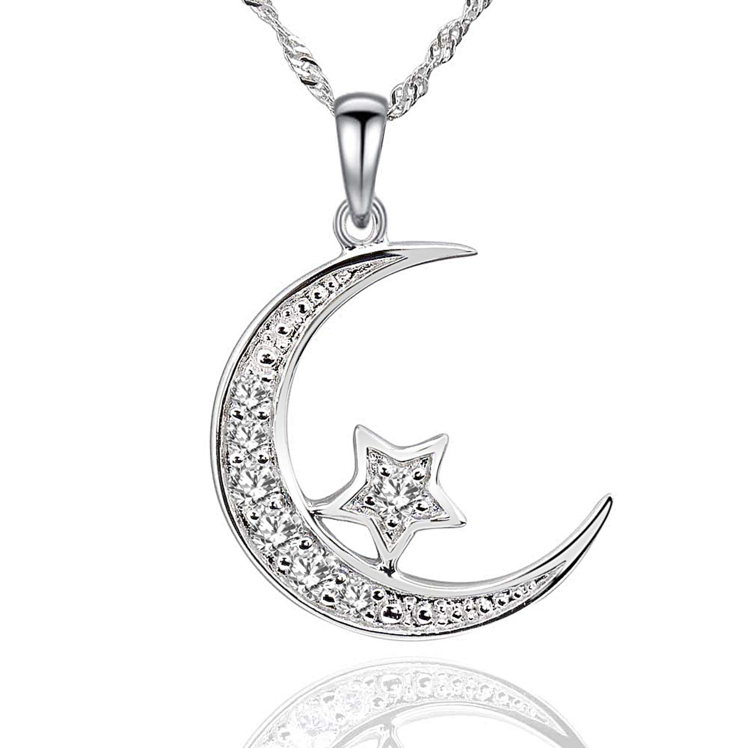 bb535d4b626c2 Amazon.com: GemsChest Sterling Silver Cubic Zirconia Crescent Moon ...