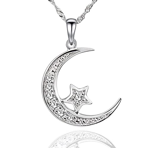 6bbd5e995ad31 Amazon.com: GemsChest Sterling Silver Cubic Zirconia Crescent Moon ...