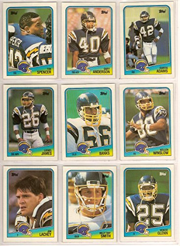 San Diego Chargers 1988 Topps Football Team Set** Curtis Adams, Gary Anderson, Chip Banks, Vencie Glenn, Vencie Glenn Record Breaker, Lionel James, Jim Lachey, Ralf Mojsiejenko, Billy Ray Smith, Tim Spencer, Lee Williams and Kellen Winslow**