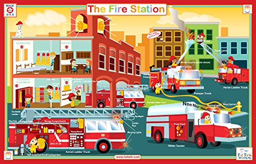 (Tot Talk Fire Station Educational Placemat for Kids, Washable and)