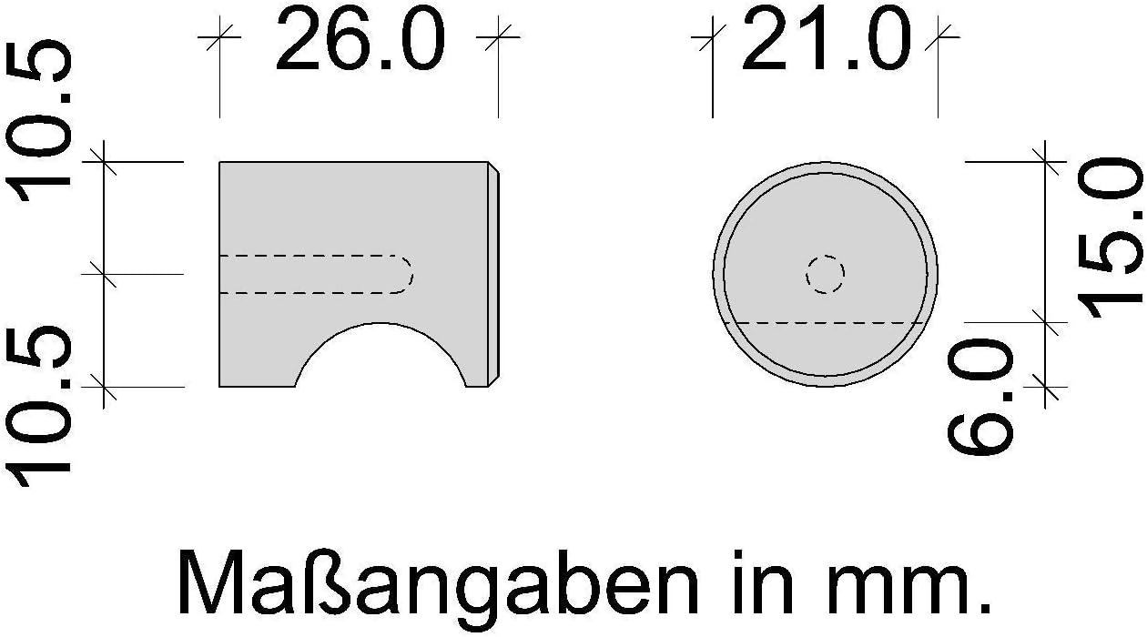Gedotec INOX Bouton de Meuble Rond /Ø 12 x H 20 mm Acier INOX Mat Bross/é